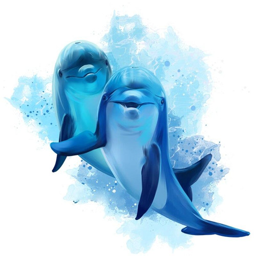 5D Diamond Painting Two Blue Dolphins Kit
