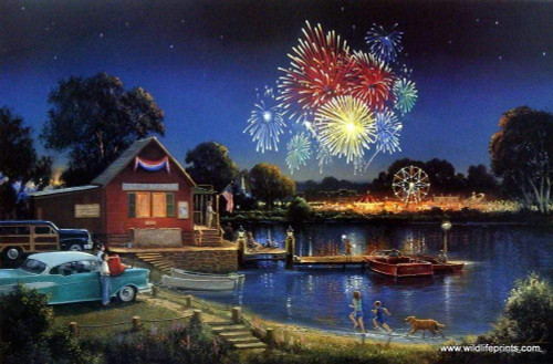 5D Diamond Painting Fireworks over the Lake Kit