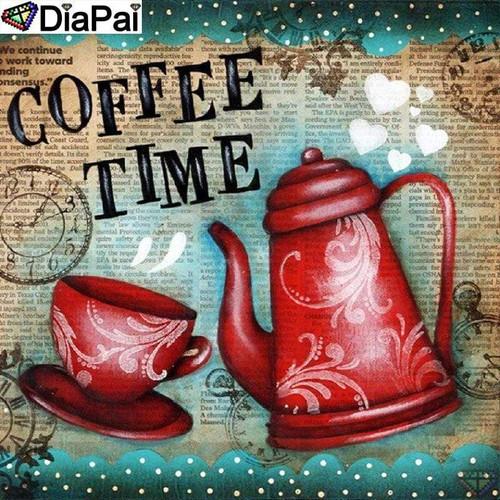 5D Diamond Painting Red Pot Coffee Time Kit