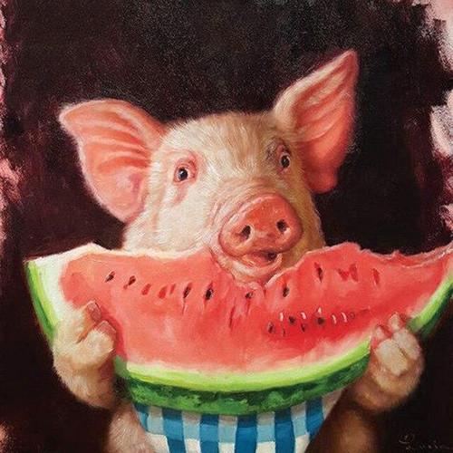 5D Diamond Painting Pig Eating Watermelon Kit