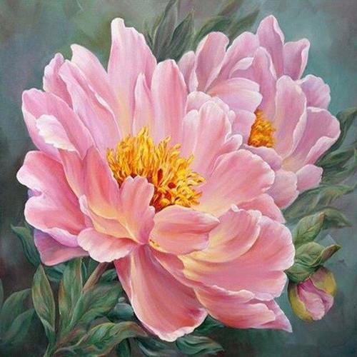 5D Diamond Painting Yellow Center Pink Flowers Kit