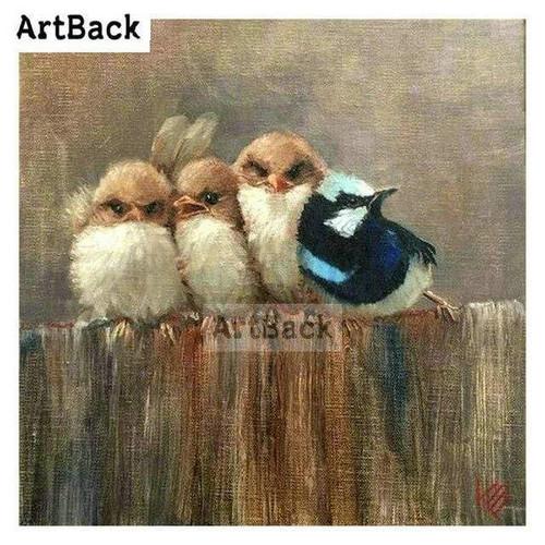 5D Diamond Painting Four Birds on a Fence Kit