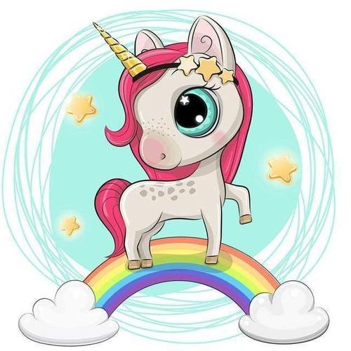 5D Diamond Painting Little Unicorn Rainbow Kit