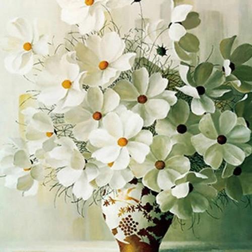 5D Diamond Painting Vase of White Flowers Kit