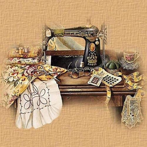 5D Diamond Painting Antique Black Sewing Machine Kit