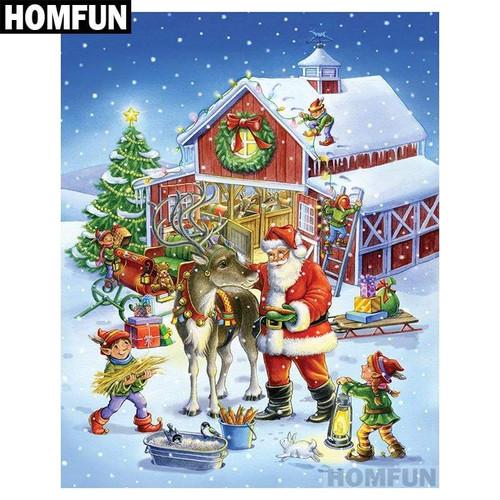 5D Diamond Painting Santa's Reindeer Barn Kit