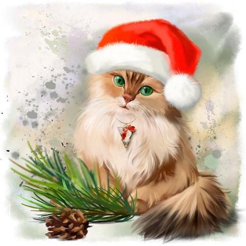 5D Diamond Painting Pine Cone Christmas Cat Kit