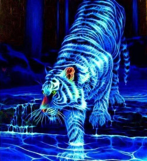 5D Diamond Painting Electric Blue Tiger Kit