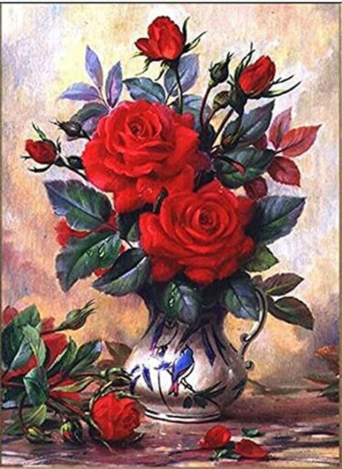 5D Diamond Painting Blue Bird Vase of Red Roses Kit