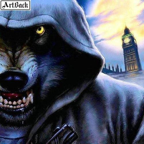 5D Diamond Painting Werewolf Clock Tower Kit
