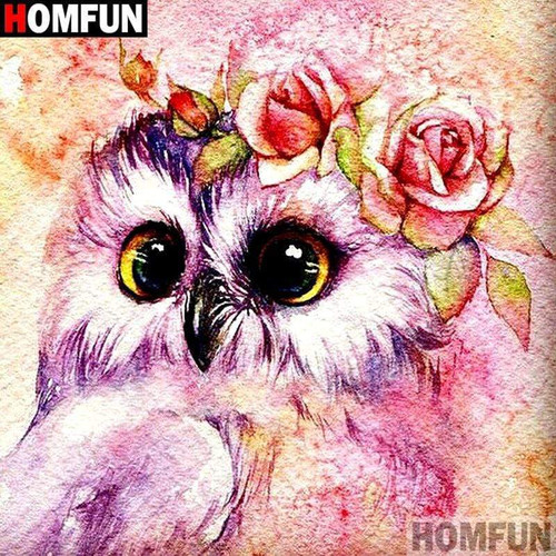 5D Diamond Painting Owl and Roses Kit