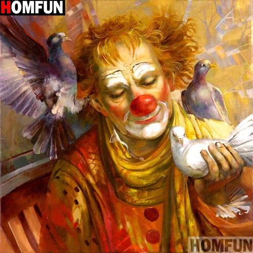 5D Diamond Painting Clown and Pigeons Kit