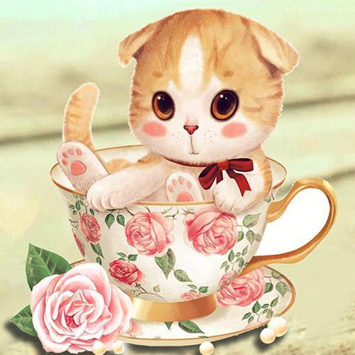 5D Diamond Painting Rose Tea Cup Kitten Kit