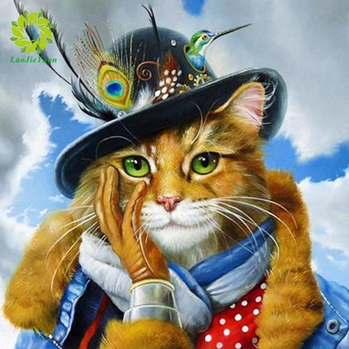 5D Diamond Painting Abstract Hat Cat Kit