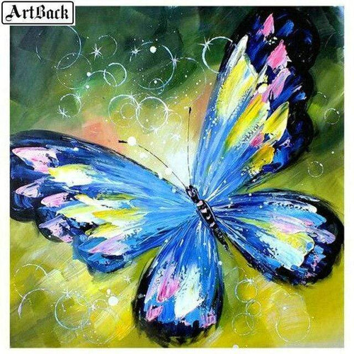 5D Diamond Painting Blue Abstract Butterfly Kit