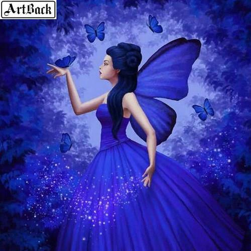 5D Diamond Painting Dark Purple Butterfly Fairy Kit