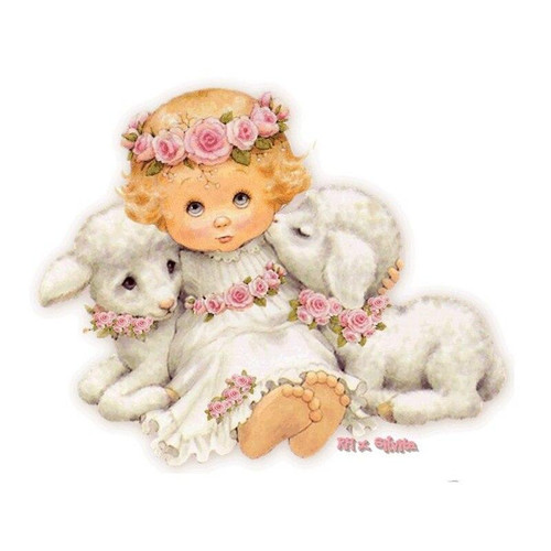 5D Diamond Painting Little Angel and Two Lambs Kit