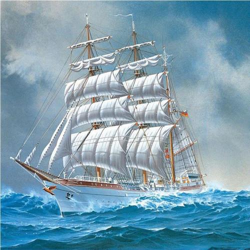 5D Diamond Painting White Sailing Ship Kit