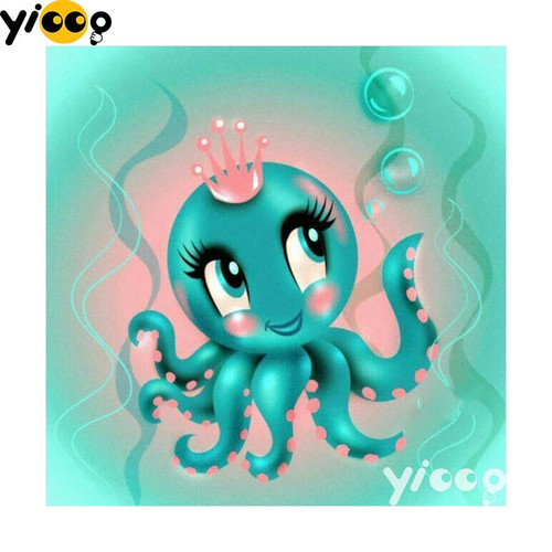 5D Diamond Painting Little Octopus Princess Kit