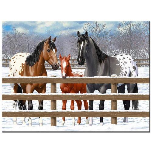 5D Diamond Painting Three Horses in the Snow Kit