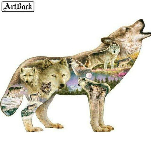 5D Diamond Painting Wolf Shape Collage Kit