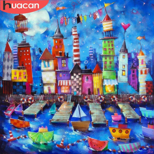 5D Diamond Painting Abstract City by the Water Kit