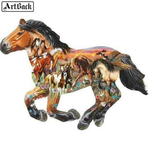5D Diamond Painting Horse Shape Collage Kit