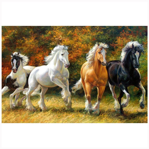5D Diamond Painting Four Horses in the Meadow Kit