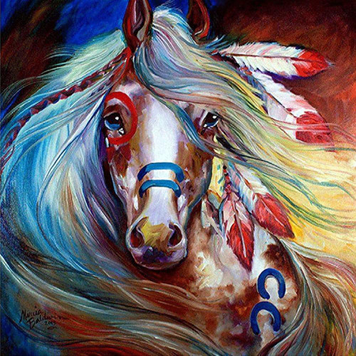 5D Diamond Painting Feathered Indian Horse Kit