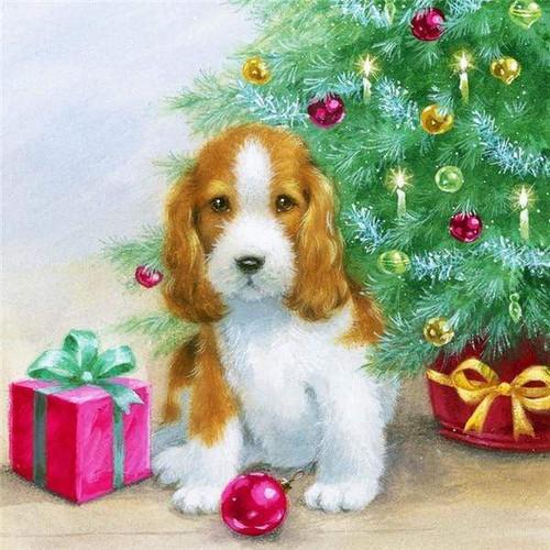 5D Diamond Painting Red Christmas Ball Puppy Kit