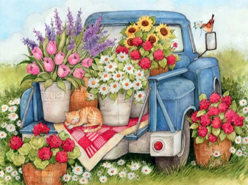 5D Diamond Painting Old Blue Truck With Flowers Kit