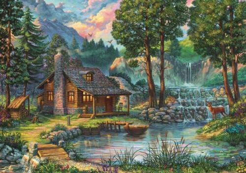 5D Diamond Painting Waterfall Cabin Kit