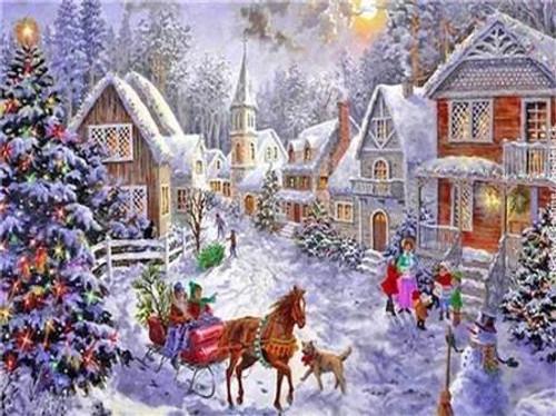 5D Diamond Painting Sleigh in the Christmas Village Kit