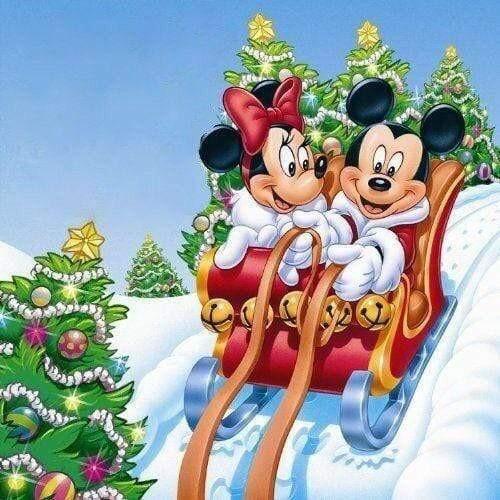 5D Diamond Painting Mickey & Minnie Sleigh Kit