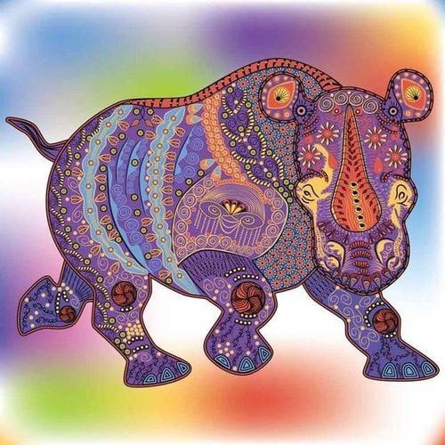 5D Diamond Painting Abstract Pattern Hippo Kit