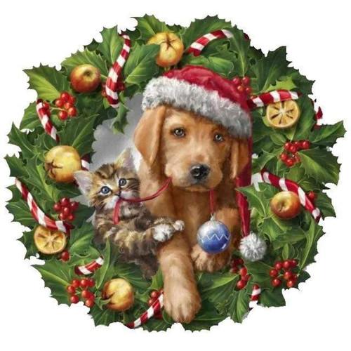 5D Diamond Painting Puppy & Kitten Wreath Kit
