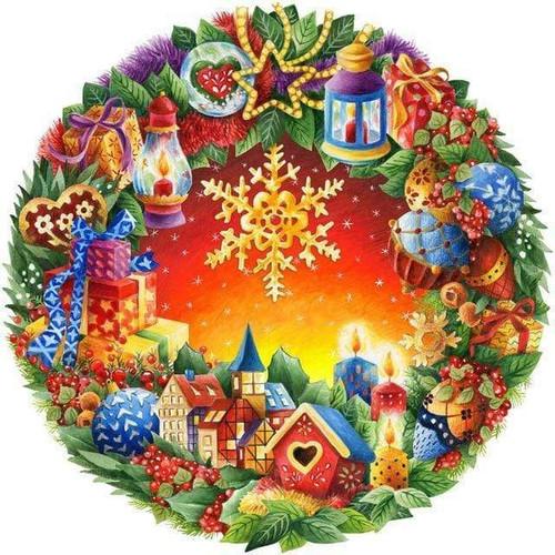 5D Diamond Painting Snowflake Christmas Wreath Kit