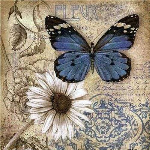 5D Diamond Painting Blue Butterfly Daisy Kit
