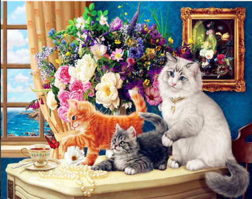 5D Diamond Painting Cats on the Table Kit