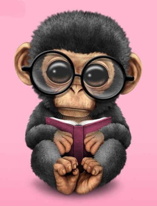 5D Diamond Painting Monkey with Glasses Kit
