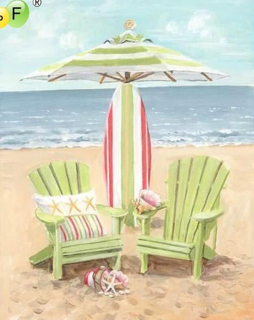 5D Diamond Painting Light Green Beach Chairs Kit