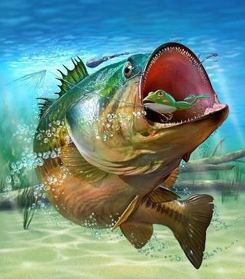 5D Diamond Painting Fish and Fish Bait Kit