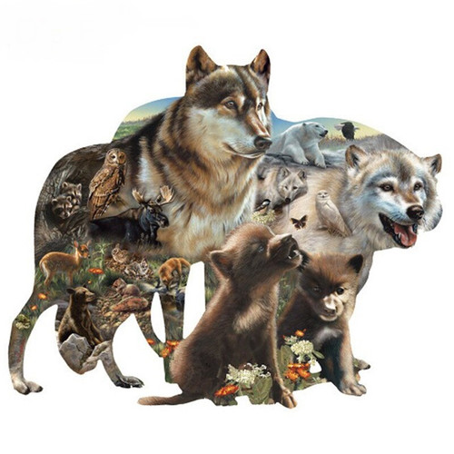 5D Diamond Painting Two Wolf Collage Kit