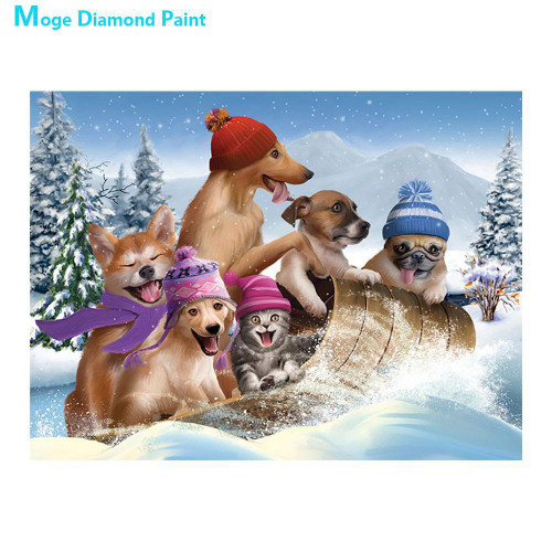 5D Diamond Painting Five Dogs and a Cat Sledding Kit