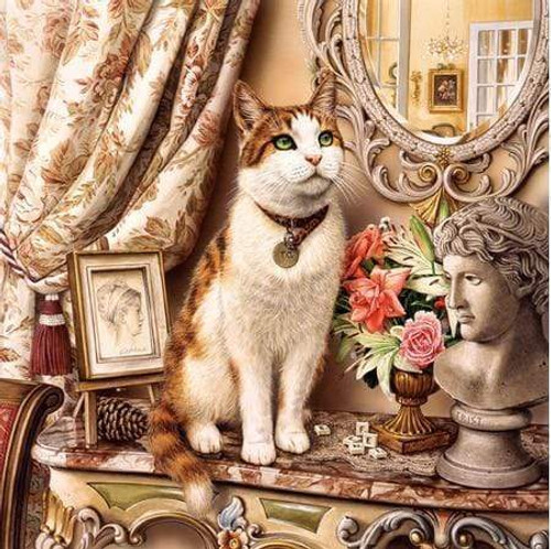 5D Diamond Painting Cat on the Side Table Kit