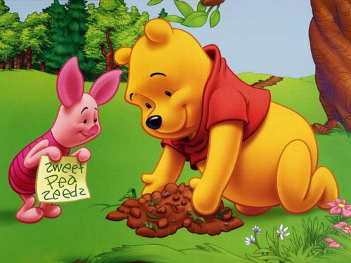5D Diamond Painting Piglet and Pooh Planting Seeds Kit
