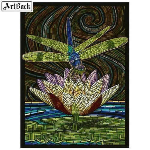 5D Diamond Painting Abstract Dragonfly Lotus Flower Kit