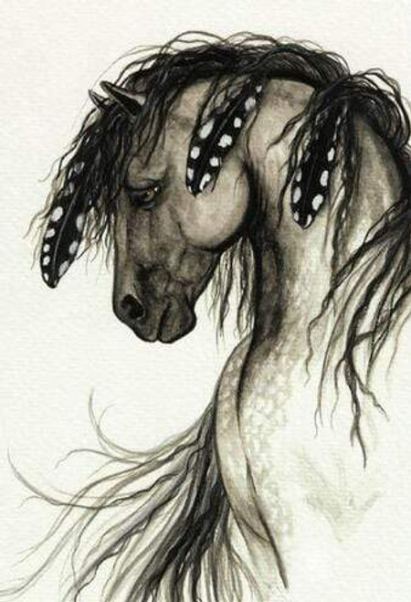5D Diamond Painting Black and White Feather Horse Kit