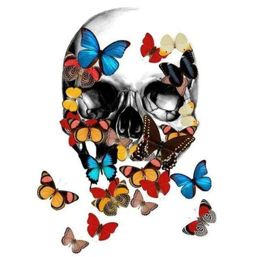 5D Diamond Painting Colorful Butterfly Skull Kit