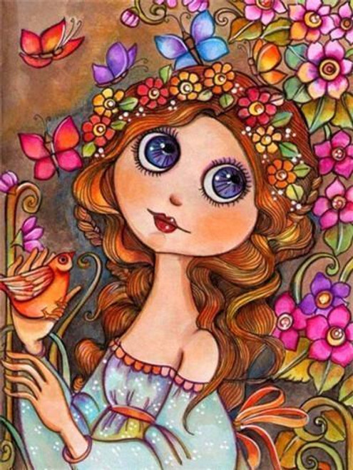 5D Diamond Painting Abstract Girl and a Bird Kit